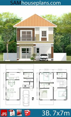 House Plans with 3 Bedrooms - Sam House Plans Small House Layout, Small Modern House Plans, Beautiful House Plans, House Layout Plans, House Layouts, Modern Bungalow House, Cottage Style House Plans, Duplex House Plans, My House Plans