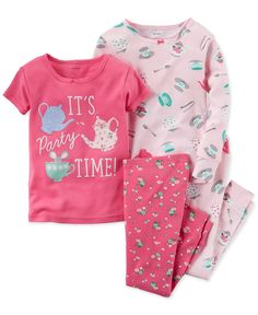 She'll be snug and cozy for bedtime in the soft cotton pieces in this four-piece pajamas set from Carter's, adorned with a playful tea-party theme. | Cotton | Machine washable | Imported | Graphic top
