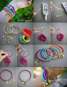 Take some old bangles you have and buy some thin colorful string from any craft store (don't worry it's cheep) then add a for of glue at one end of the bangle and then rap the string all the way around (time consuming but worth it) then glue it on the other end and add cute charms for adorable colorful DIY bangles!!