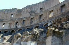 This is a view of the top levels of the colosseum which have now crumbled and collapsed.