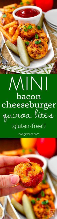 Mini Bacon Cheeseburger Quinoa Bites - Iowa Girl Eats Blt Bites, Quinoa Bites, Mustard Pickles, Fried Potatoes, Mini Muffins, Ham And Cheese, Bite Size, Iowa, Ground Beef