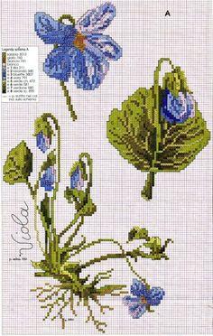 I love wild violets. Cross Stitch Needles, Cross Stitch Art, Cross Stitch Flowers, Cross Stitch Designs, Cross Stitching, Cross Stitch Embroidery, Embroidery Patterns, Hand Embroidery, Cross Stitch Patterns