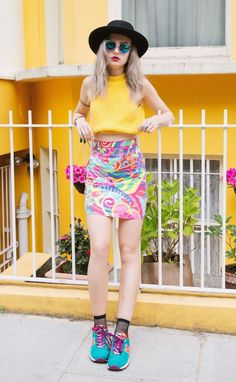 colorful skirt with yellow top