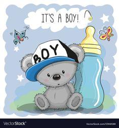 Cute Cartoon Teddy bear boy with feeding bottle ( make baby card) Tatty Teddy, Designer Baby, Bear Cartoon, Cute Cartoon, Cartoon Mignon, Cute Bear, Blue Nose Friends, Diy Bebe, Bear Girl