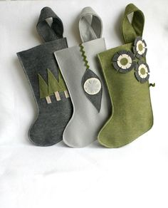 Christmas stockings in gray / grey silver  moss / sage / by rikrak, $54.00