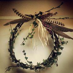 Autumn wreath ##pussywillow #pheseantfeathers
