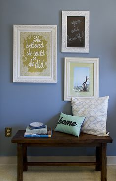 i like the bench and pillows... cute idea for a wall that just needs something!