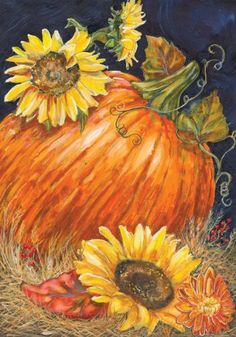 ACEO Original Acrylic Painting Folkart Pumpkin Sunflower