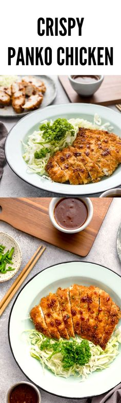 Panko breaded chicken (Japanese Katsu). This consists of crispy pan fried chicken lightly breaded in panko crumbs. The meat is so tender and moist with simple seasoning, salt, pepper, and a sprinkle of garlic salt on the breadcrumbs. Easy Japanese recipes