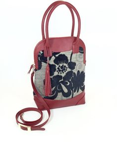 Handmade Red Leather Satchel with Flower Print and by SusuSoul