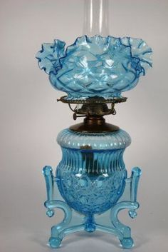 blue hues of blue - Holmes, Booth & Hayden Parlor Oil Lamp : Lot 316 Antique Hurricane Lamps, Hurricane Oil Lamps, Antique Oil Lamps, Antique Lighting, Vintage Lamps, Victorian Lighting, Chandeliers, Kerosene Lamp, Lamp Light
