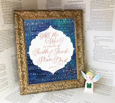 """All the world is made of faith, and trust, and pixie dust."" - J.M. Barrie  Rose gold type, white and rose gold stars over a rich blue space background.  The printable is perfect framed in a baby nursery, childs room or any room that needs a little Peter Pan whimsy.  This listing is for an INSTANT DOWNLOAD, no physical print will be mailed to you. You will receive 8 x 10 and 5 x 7 printable PDF and JPEG files. They can be printed at home or any print shop.  Once you purchase you will…"