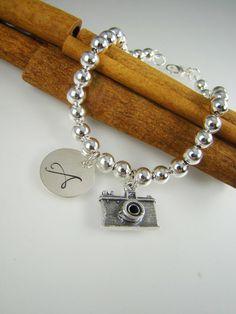 Camera Charm Bracelet Personalized Photographer Gift Idea Photographer Jewelry by ShinyLittleBlessings on Etsy, $43.00