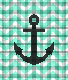 Alpha Friendship Bracelet Pattern added by sussie. Crochet Anchor, Nautical Crochet, Crochet Cross, Crochet Chart, Crochet Ripple, Crochet Quilt, Tapestry Crochet, Crochet Blanket Patterns, Crochet Blankets