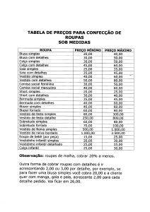 Tabela de preços para a confecção de roupas sob medida. Somente mão de obra