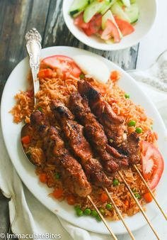 West African Chicken Suya Skewers You are in the right place about West African food mali Here we of Riz Jollof, Jollof Reis, Cameroon Food, Ghana Food, West African Food, Nigerian Food, Jollof Rice Nigerian, International Recipes, Soul Food