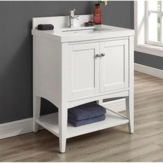 "Buy Fairmont Designs Shaker Americana 30"" Vanity - Open Shelf for Quartz Top- Polar White at ModernBathroom.com. Get free shipping and factory-direct savings on Fairmont Designs Shaker Americana 30"" Vanity - Open Shelf for Quartz Top- Polar White."
