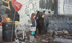 Kevin Peterson es un artista estadounidense nacido de la ciudad de Austin, Texas. Estudió arte en el Austin College donde recibió su BFA y en la actualidad reside en la ciudad de Houston. Su obra se centra en plasmar interacciones de cuentos de hadas entre niñas y lobos, aves y osos en escenas muy diferentes a los mundos de pastoreo de los libros de fantasía.