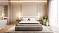 Interior design of apartment. Modern apartment with classic elements. In soft, light colors. Modern Classic Bedroom, Modern Classic Interior, Contemporary Interior Design, Living Room Modern, Living Room Interior, Home Interior, Home Decor Bedroom, Luxury Interior, Bedroom Ideas
