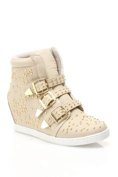 Bucco Danick Buckle Wedged Sneakers in Taupe - Beyond the Rack