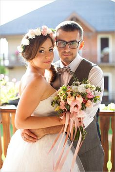 her crown and bouquet!!! LOVELY //   romantic pink and green wedding bouquet