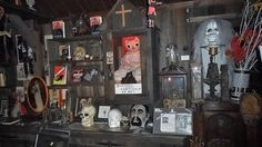 Ed & Lorraine Warren's Occult Museum Monroe, CT.  ~ Display of strange objects that were taken out of circulation by the famed Warrens including Annabelle- a murderous Raggedy-Ann style doll.