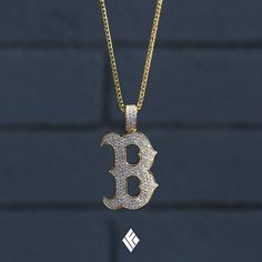 """Custom 14K Yellow Gold Boston """"B"""" Pendant Fully Iced Out With White Diamonds. Specially made for @ccnig  #Boston #CustomJewelry #IFANDCO"""