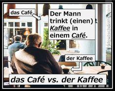 das Café vs. der Kaffee,-...Ich trinke einen Kaffee in einem Café...,oder : Ich trinke einen Kaffee in einem Kaffeehaus.