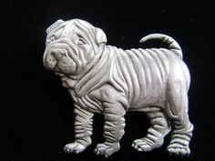 Vintage JJJonette pewter dog pin.Shows great detail with oodles of wrinkles.Typical finely detailed workmanship so related to Jonette
