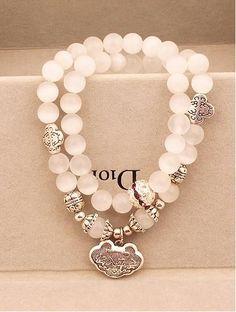White Cat Eye Beads Multi-String Bracelet