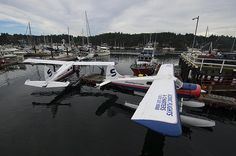 This image of SaltSpring Air seaplanes with the public marina in the background was captured at their dock in Ganges on SaltSpring Island, BC.