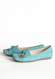 """Balboa Boulevard Loafers In Light Teal 34.99 at shopruche.com. Casually sophisticated, these comfortable light teal moccasins are finished with a distressed faux leather texture and slightly padded insole.  All man-made materials, 0.5"""" heel, Slightly padded footbed"""