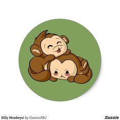 Silly Monkeys! Classic Round Sticker