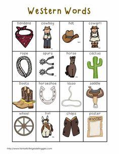 S Word Center List- Western Words: Cowboy Theme, Cowboy Party, Western Theme, Bingo, Wild West Activities, Wild West Crafts, Wild West Theme, Wild Wild West Preschool Theme, Cowboy Crafts
