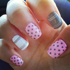 My August nails! Gel nails (Only natural nails) Influenced by a black and pink design. | See more nail designs at http://www.nailsss.com/...