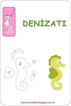The Art of Felt: Denizati Modeli (Seahorse) - The Art Of Felt - # . - The Art of Felt: Denizati Modeli (Seahorse) – The Art Of Felt – - Felt Animal Patterns, Felt Crafts Patterns, Felt Crafts Diy, Stuffed Animal Patterns, Baby Crafts, Quiet Book Templates, Felt Templates, Felt Name, Felt Toys