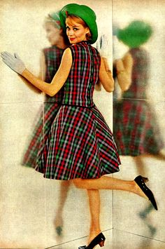 1961.  Super sweet in plaid seperates .1960s fashion. Green . Hat