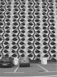Concrete facade in Chemnitz, Germany.