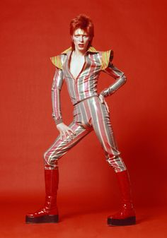 """1973 Mr. Bowie's Aladdin Sane persona (the name is a play on """"a lad insane"""") continued many of the same themes the musician began developing with Ziggy Stardust."""