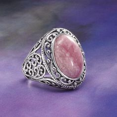 Filigree Rhodochrosite Ring - New Age, Spiritual Gifts, Yoga, Wicca, Gothic, Reiki, Celtic, Crystal, Tarot at Pyramid Collection