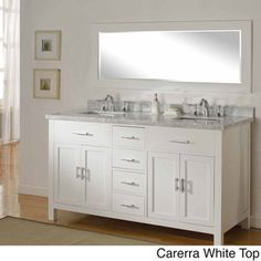 63-inch Hutton Pearl White Double Bathroom Vanity Sink Console Set | Overstock.com Shopping - Great Deals on Bathroom Vanities