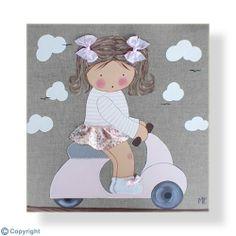 Cuadro infantil personalizado: Niña en Vespa (ref. 12020-03)