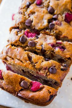 Sub gluten free flour: Super-moist and incredibly indulgent brown sugar banana bread with juicy raspberries and dark chocolate chips. My favorite banana bread recipe!