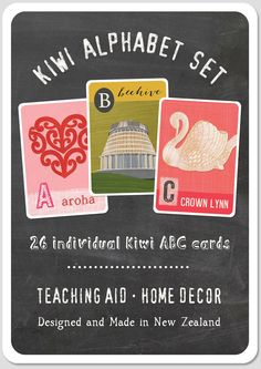 New Zealand ABC or alphabet flash card set by Tanya Wolfkamp can be used as a teaching aid or as a Kiwi ABC frieze. Ideal NZ gift or home accessory.
