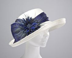 Kentucky Derby Hat, Navy Ladies Hat, Easter Hat, Large Brim,Ivory Parasisal Straw Women's Hat on Etsy, $269.00