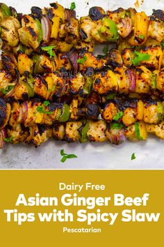 Asian Ginger Beef Tips with Spicy Slaw come together so quickly. This beef tips recipe gives you beef ideas visit our site for more food recipes easy lunch. Beef Tip Recipes, Beef Tips, Chicken Recipes, Best Lunch Recipes, Ginger Beef, Skewer Appetizers, Beef Stew Meat, Coleslaw Mix, Lunches And Dinners