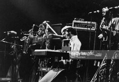 American rock soul and funk singer Sly Stone sings while playing the keyboard during a performance by his group Sly and the Family Stone at the...