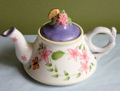 Pot with Lid. Small Pottery Tea Brewing Pot.  Hand Painted