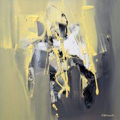 Peinture abstraite gris jaune, par Artoosh
