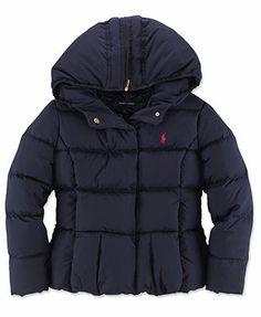 Ralph Lauren Kids Coat, Girls Shawl Zip Hood Down Coat